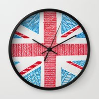 uk Wall Clocks featuring UK Flag by sinonelineman