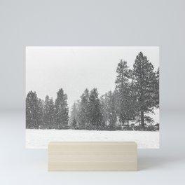Snow Days // Snowy Tree Black and White Winter Landscape Photography Ski Snowboard Woods Wall Decor Mini Art Print