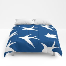 blue and white birds Comforters