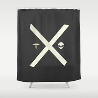 mulder Shower Curtains featuring Mulder and Scully by avoid peril