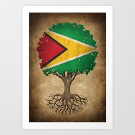 Vintage Tree of Life with Flag of Guyana Art Print