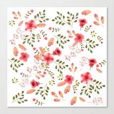 Red flower pattern Canvas Print