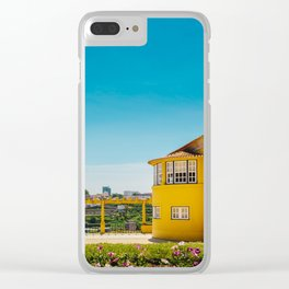 Yellow house with a view Clear iPhone Case