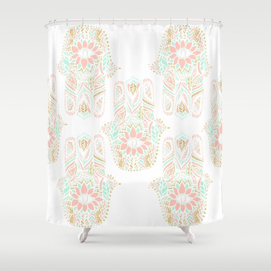 Modern Girly Pink Mint Gold Hamsa Hand Of Fatima Shower Curtain By Girly Tren