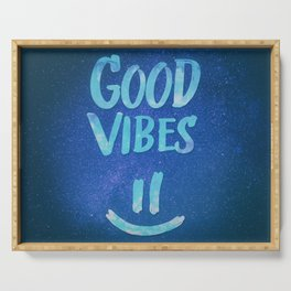 Good Vibes - Funny Smiley Statement / Happy Face (Blue Stars Edit) Serving Tray