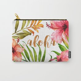 Aloha Watercolor Tropical Hawaiian leaves and flowers Carry-All Pouch