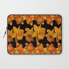 GOLDEN DAFFODILS GARDEN  COFFEE BROWN-BLACK ART Laptop Sleeve