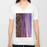 west coast V-neck T-shirts featuring West Coast Goodnight by Paul & Fe Photography