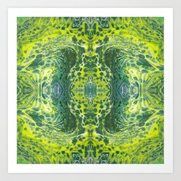 Psycho - Sea Turtle Illusions Swimming in a Yellow Happy Place by annmariescreations Art Print