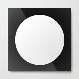 One Dot Series 01 - 03 - Full Moon - White on Black - Two Tone Minimalism - Minimal Abstract Spot Metal Print