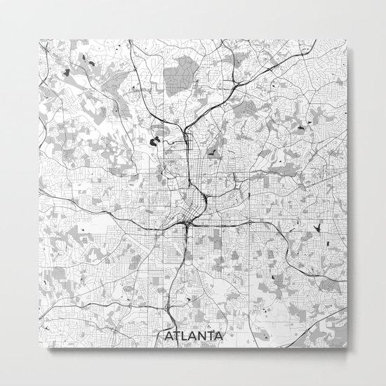 Atlanta City Map Gray Metal Print