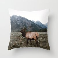 elk Throw Pillows featuring Elk by jmeshe