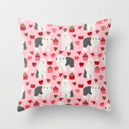 Old English Sheepdog valentines day hearts cupcakes pattern pet portrait dog art gifts love Throw Pillow