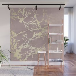Kintsugi Ceramic Gold on Clay Pink Wall Mural