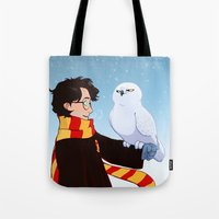 hedwig Tote Bags featuring Harry and Hedwig by AnimonInk