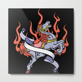 Tattoo Art - Flaming Horse Metal Print