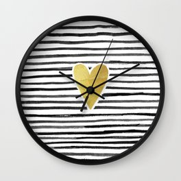 Gold Heart And Black ink abstract horizontal stripes background.  Wall Clock