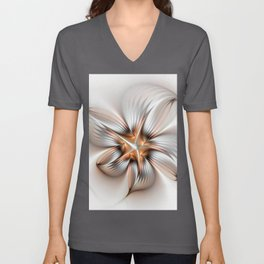 Elegance of a Flower, modern Fractal Art Unisex V-Neck