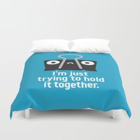 depression Duvet Covers featuring Get a Grip by David Olenick