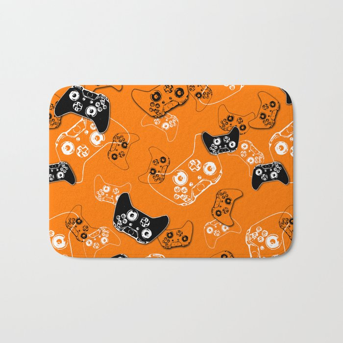 Video Game Orange Bath Mat