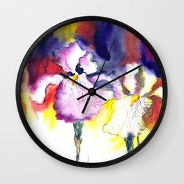 Expressive iris flowers Wall Clock