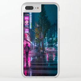 Japanese walking home on a rainy night in Tokyo Clear iPhone Case