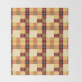 Plaid White Stitch Yellow And Brown Lumberjack Flannel Throw Blanket