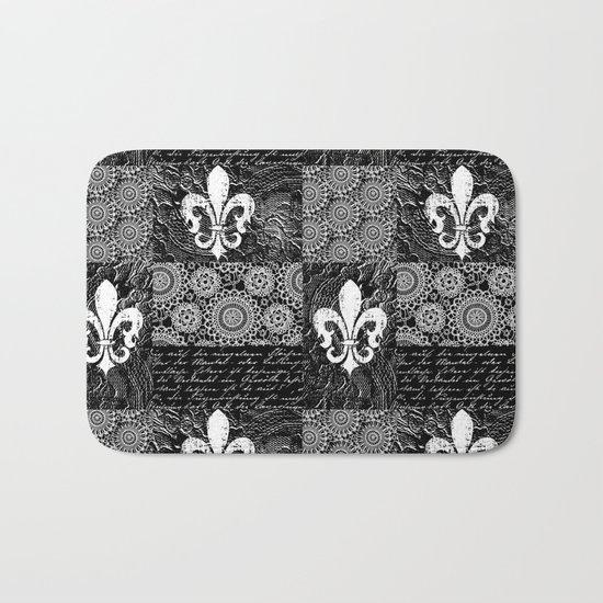 Black and white lace Bath Mat