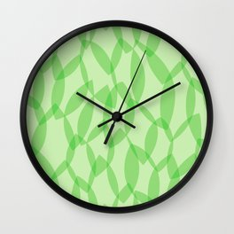 Overlapping Leaves - Light Green Wall Clock