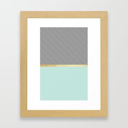 Aqua, Gold and Stripes Framed Art Print