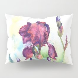 Watercolor iris flowers Pillow Sham
