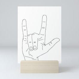 Sign Language 'I Love You' Line Art Mini Art Print