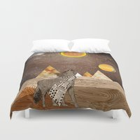 howl Duvet Covers featuring Wolf howl by Design4u Studio