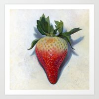 strawberry Art Prints featuring strawberry by Colin Lammie