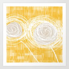 Yellow Doodle Floral by Friztin Art Print