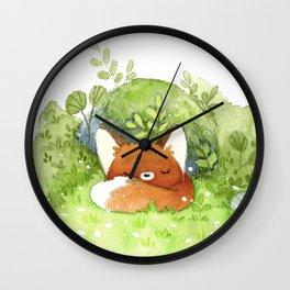 Little fox sleeping Wall Clock