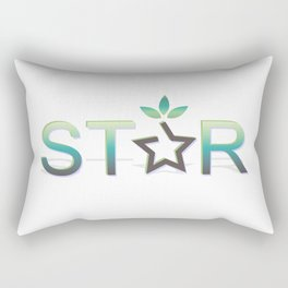 Star reward style and star text in green Rectangular Pillow