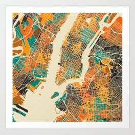 New York Mosaic Map #2 Art Print