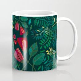 Reds and Greens Petals and Leaves Coffee Mug