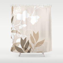 Pantone Hazelnut Botanicals and Butterflies Graphic Design Shower Curtain