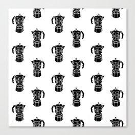 Moka Coffee Pot coffee lover black and white minimal modern kitchen linocut art Canvas Print