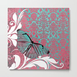Vibrant Damask Butterfly Metal Print