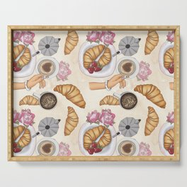 Good Morning Strawberries, Croissants And Coffee Pattern Serving Tray