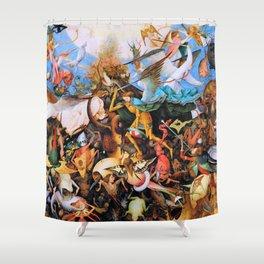 12,000pixel-500dpi - Pieter Bruegel - The Fall Of The Rebel Angels - Digital Remastered Edition Shower Curtain