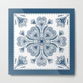 Blue and White Tile Metal Print