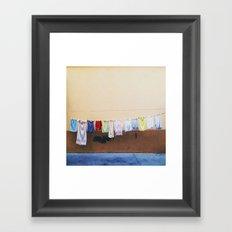 Drying laundry Framed Art Print