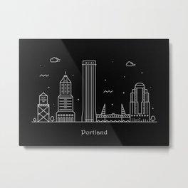 Portland Minimal Nightscape / Skyline Drawing Metal Print