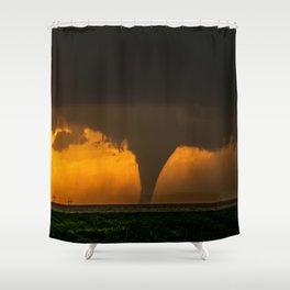 Silhouette - Large Tornado at Sunset in Kansas Shower Curtain
