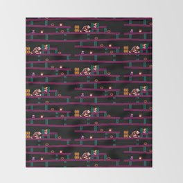 Donkey Kong Retro Arcade Gaming Design Throw Blanket