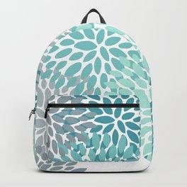 Festive, Winter Garden, Flowers Print Backpack